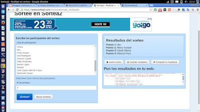 Resultados sorteo #necesitocantiopara